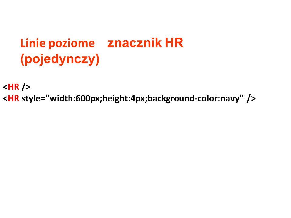 Linie poziome znacznik HR (pojedynczy)
