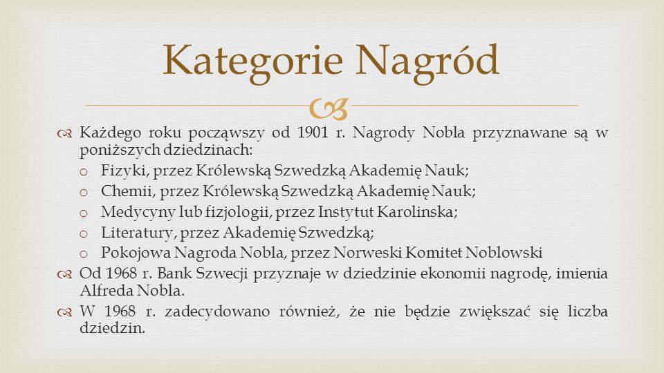 Kategorie Nagród Każdego roku począwszy od 1901 r. Nagrody Nobla przyznawane są w poniższych dziedzinach: