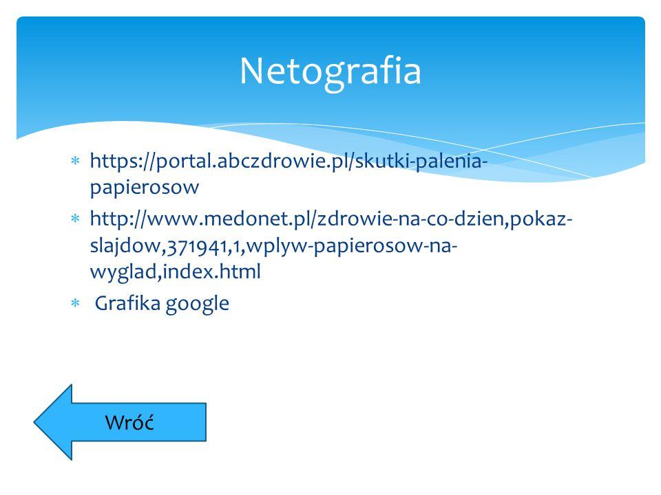 Netografia https://portal.abczdrowie.pl/skutki-palenia-papierosow