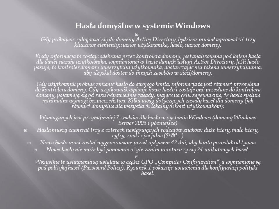 Hasła domyślne w systemie Windows