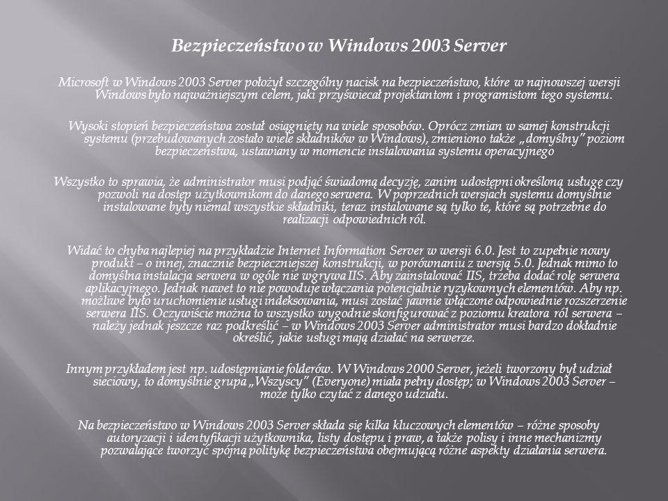 Bezpieczeństwo w Windows 2003 Server