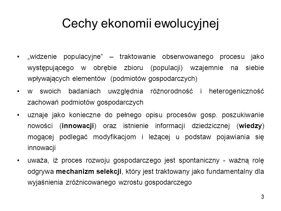 Cechy ekonomii ewolucyjnej