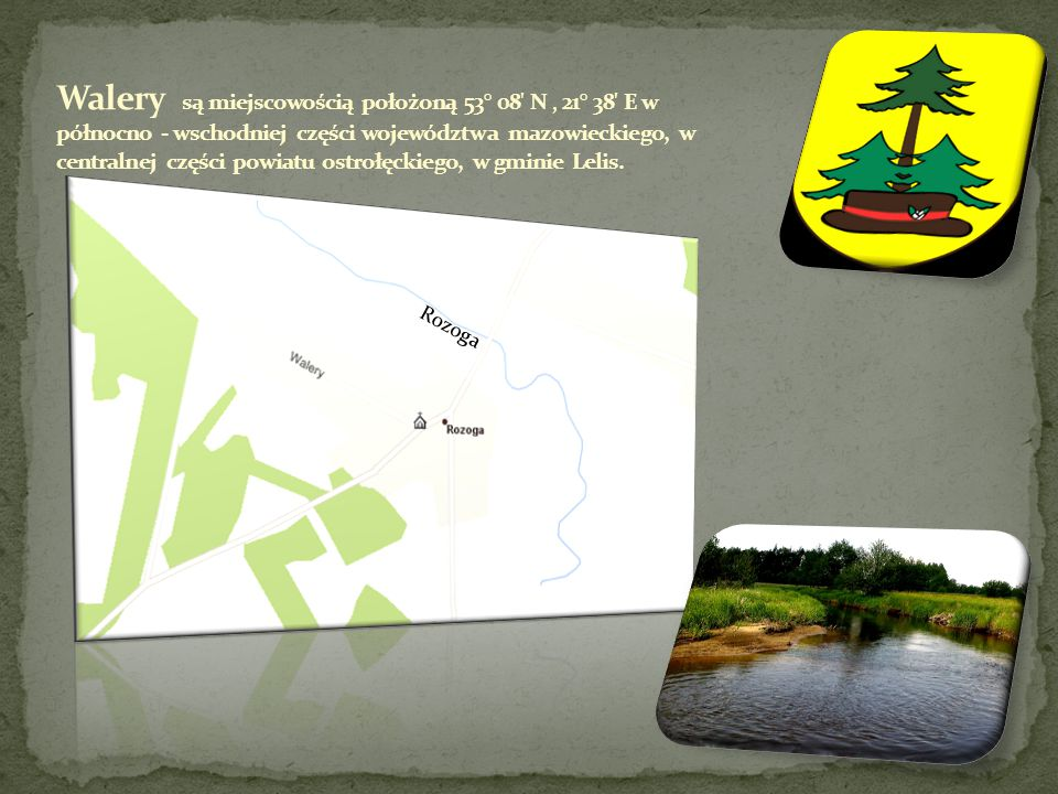 Walery są miejscowością położoną 53° 08 N ' 21° 38 E w północno - wschodniej części województwa mazowieckiego, w centralnej części powiatu ostrołęckiego, w gminie Lelis.