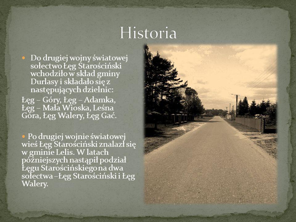 Historia Do drugiej wojny światowej sołectwo Łęg Starościński wchodziło w skład gminy Durlasy i składało się z następujących dzielnic: