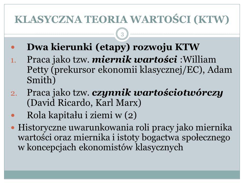 KLASYCZNA TEORIA WARTOŚCI (KTW)