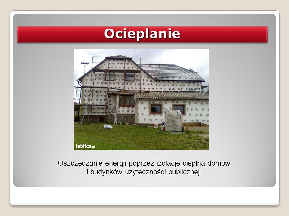 Ocieplanie Oszczędzanie energii poprzez izolacje cieplną domów i budynków użyteczności publicznej.