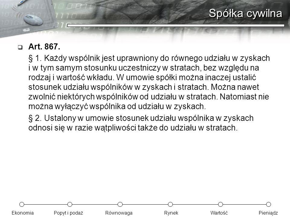 Spółka cywilna Art. 867.