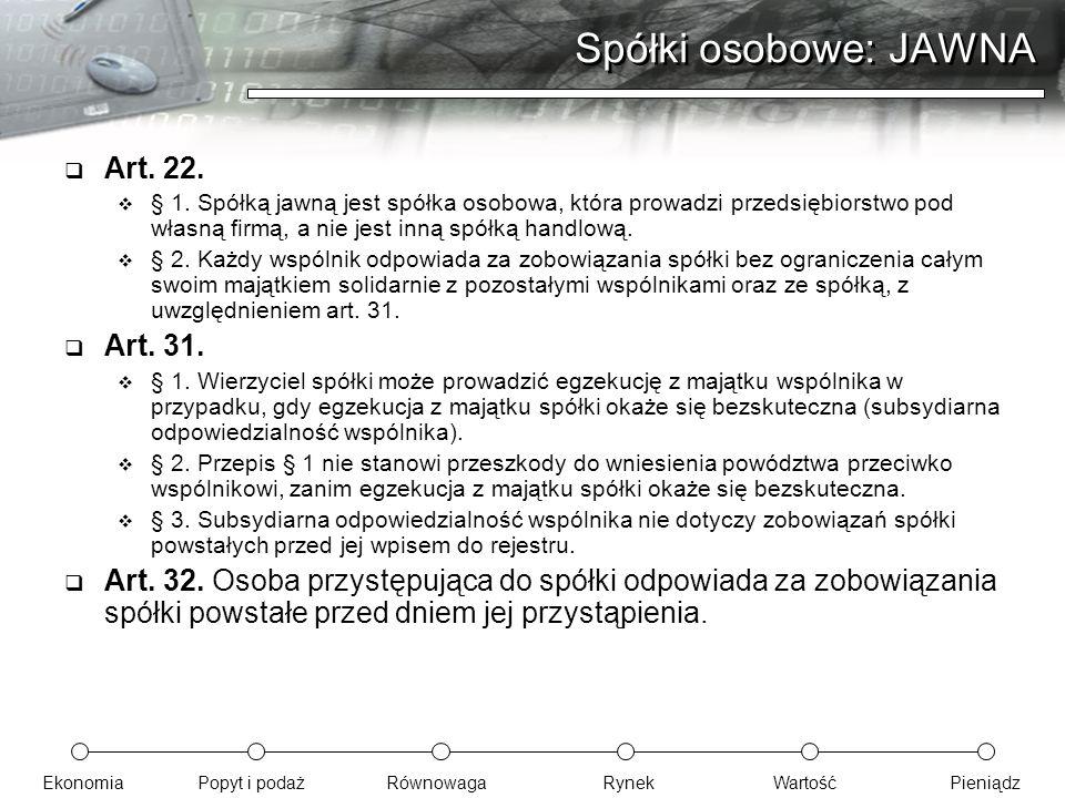 Spółki osobowe: JAWNA Art. 22. Art. 31.