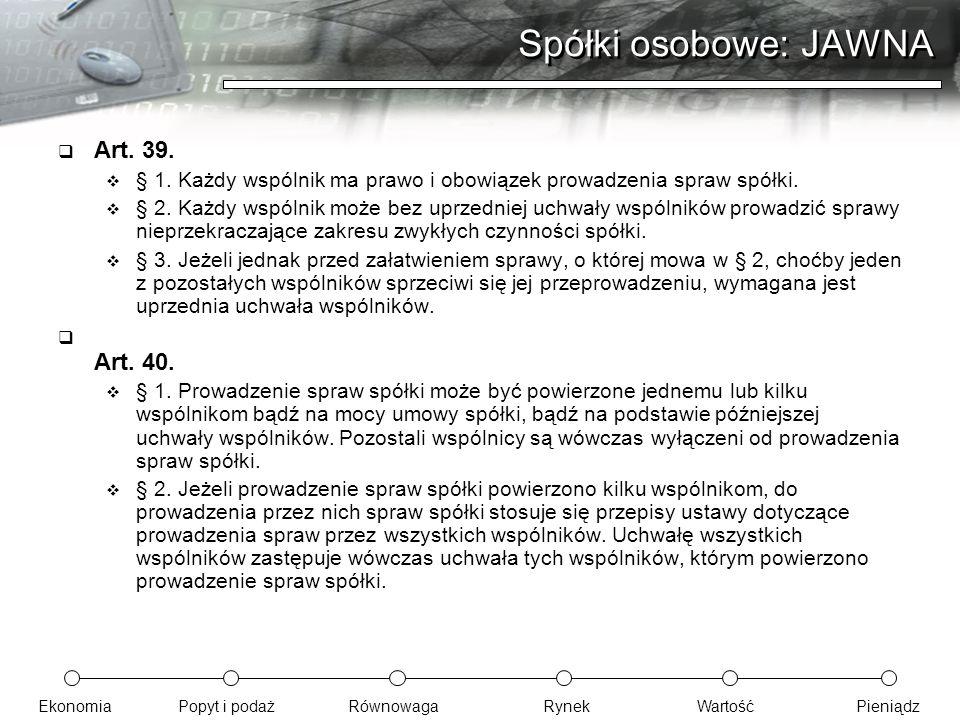 Spółki osobowe: JAWNA Art. 39. Art. 40.