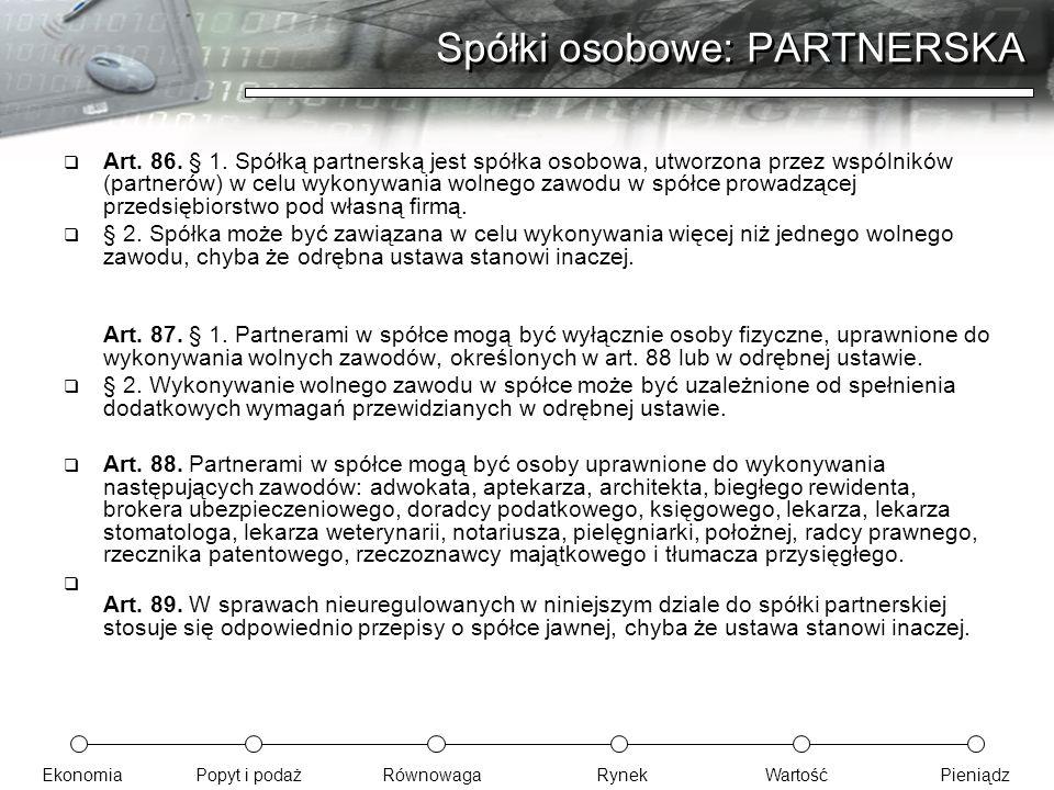 Spółki osobowe: PARTNERSKA