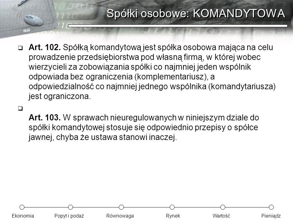 Spółki osobowe: KOMANDYTOWA