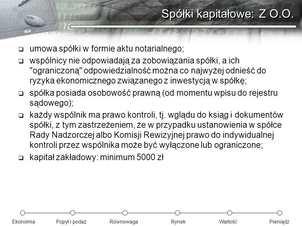 Spółki kapitałowe: Z O.O.