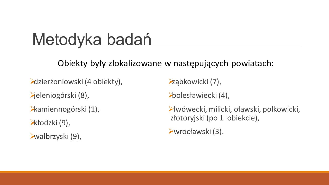 Metodyka badań Obiekty były zlokalizowane w następujących powiatach: