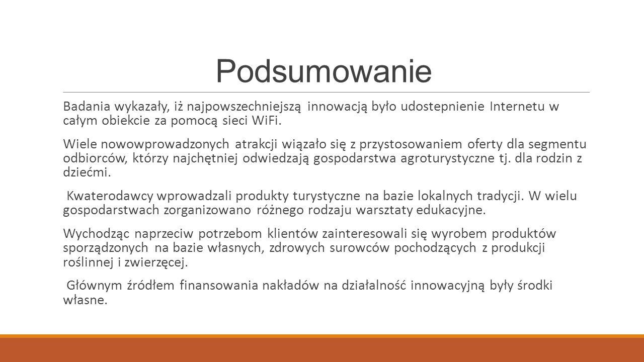 Podsumowanie Badania wykazały, iż najpowszechniejszą innowacją było udostepnienie Internetu w całym obiekcie za pomocą sieci WiFi.