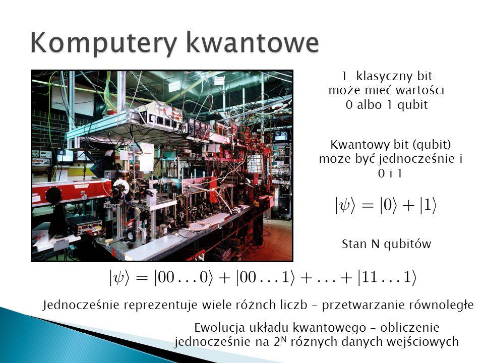 Komputery kwantowe 1 klasyczny bit może mieć wartości 0 albo 1 qubit