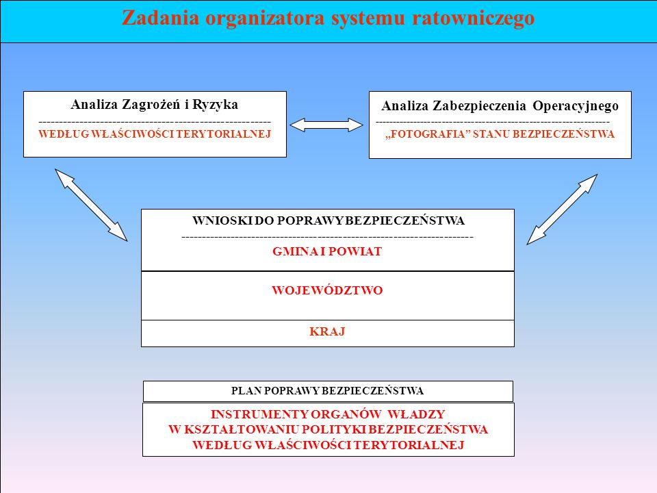 Zadania organizatora systemu ratowniczego