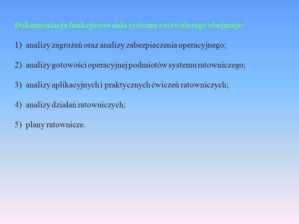 Dokumentacja funkcjonowania systemu ratowniczego obejmuje: