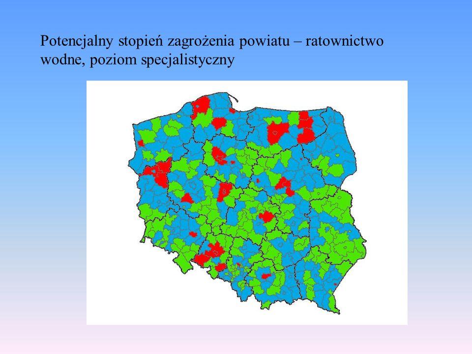 Potencjalny stopień zagrożenia powiatu – ratownictwo wodne, poziom specjalistyczny