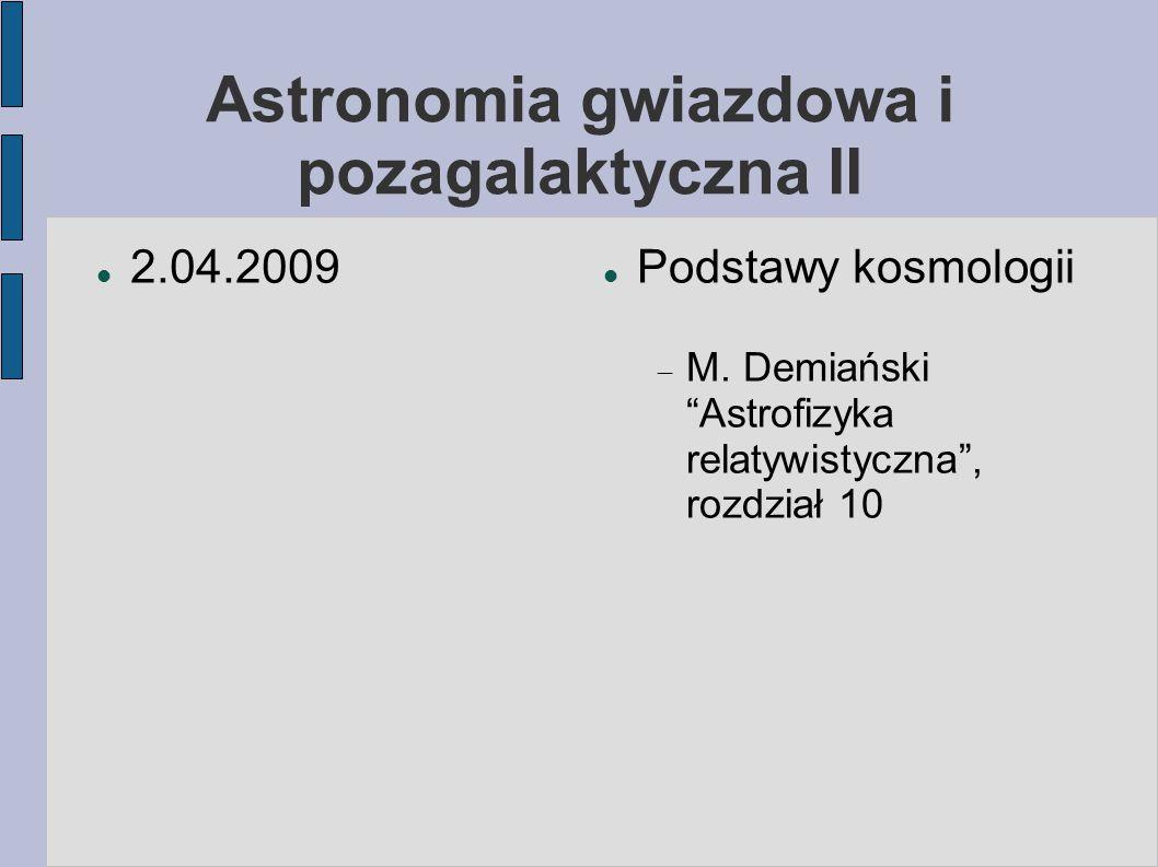 Astronomia gwiazdowa i pozagalaktyczna II