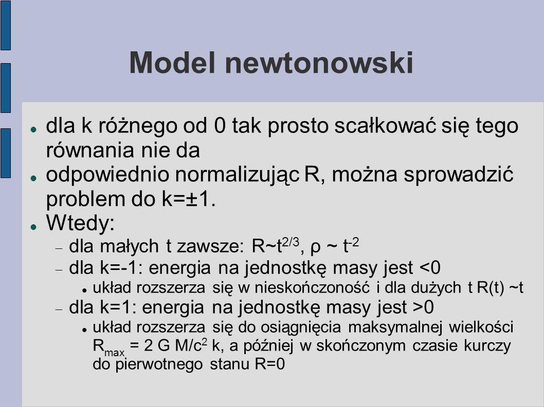 Model newtonowski dla k różnego od 0 tak prosto scałkować się tego równania nie da. odpowiednio normalizując R, można sprowadzić problem do k=±1.