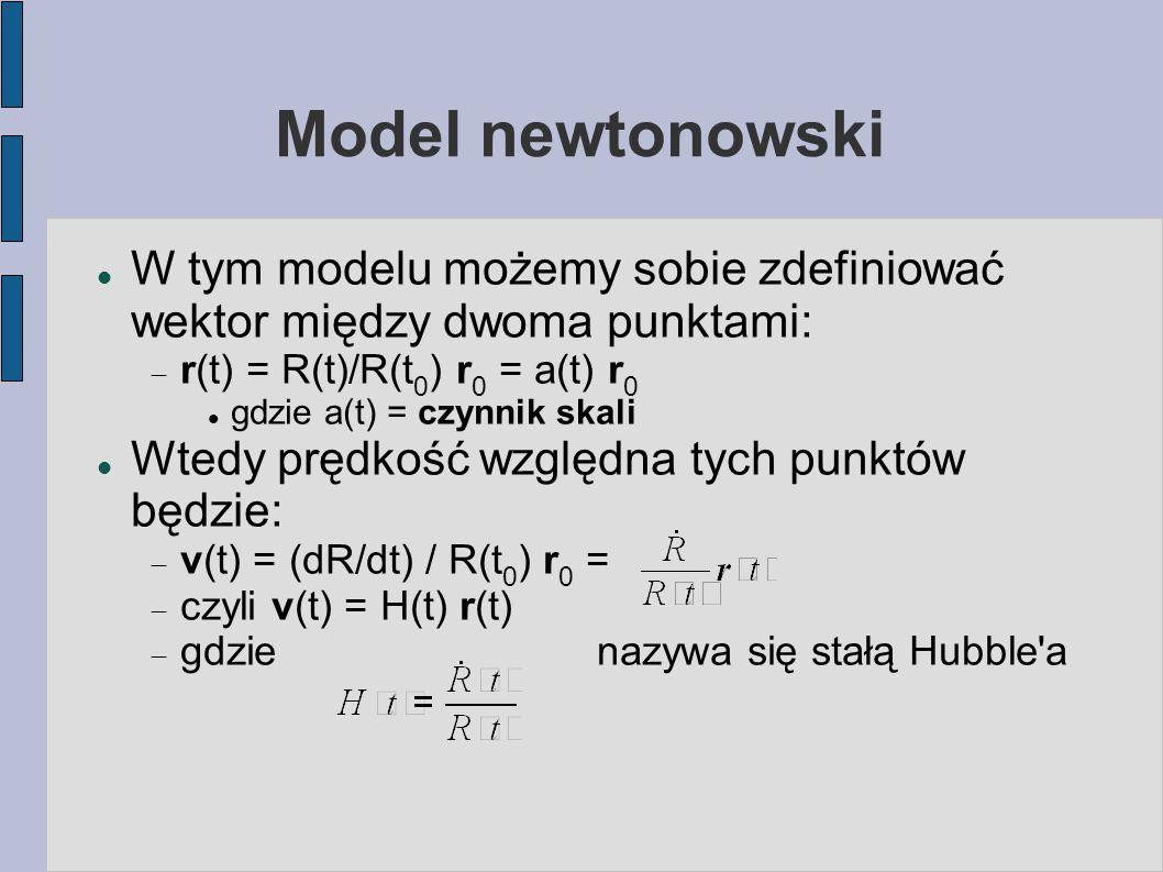 Model newtonowski W tym modelu możemy sobie zdefiniować wektor między dwoma punktami: r(t) = R(t)/R(t0) r0 = a(t) r0.
