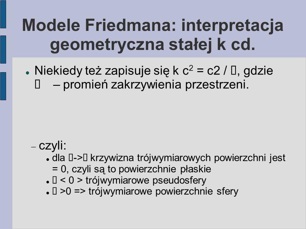 Modele Friedmana: interpretacja geometryczna stałej k cd.