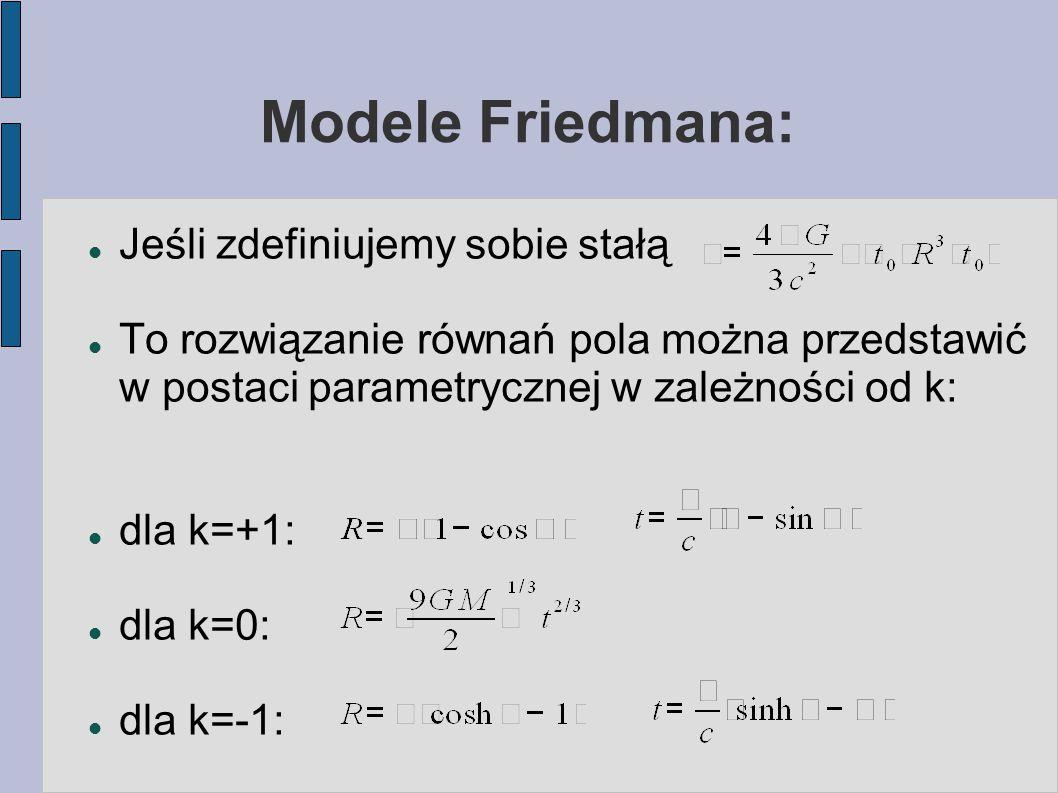 Modele Friedmana: Jeśli zdefiniujemy sobie stałą