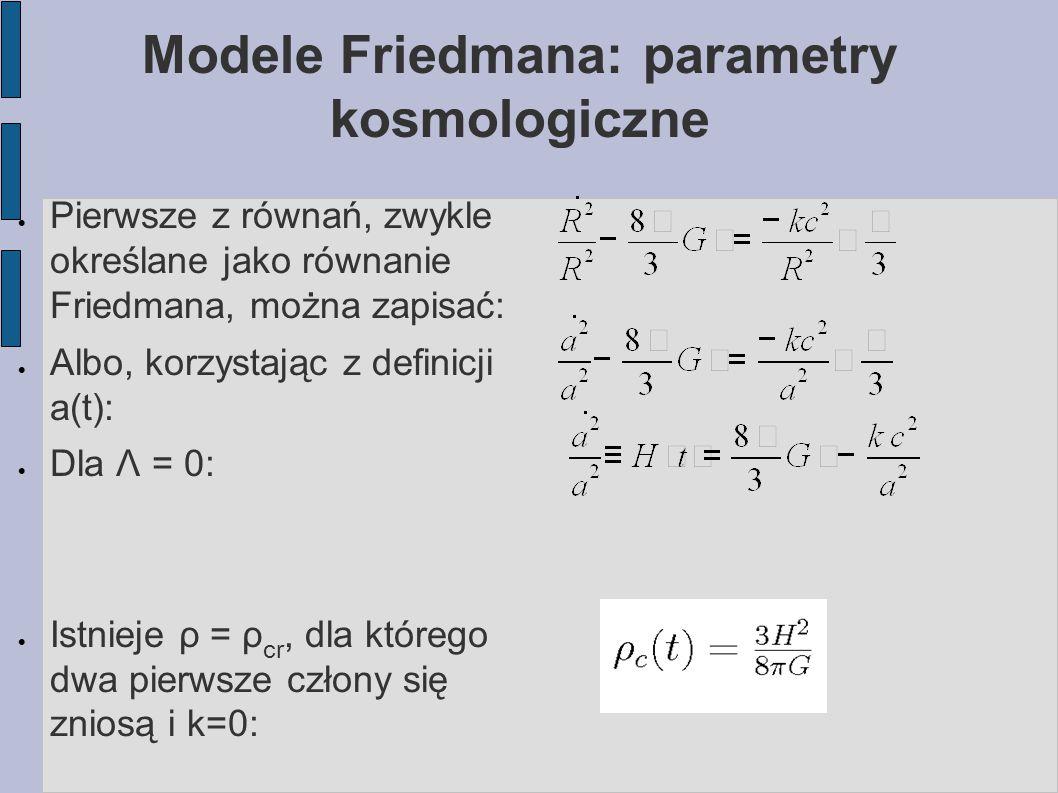 Modele Friedmana: parametry kosmologiczne