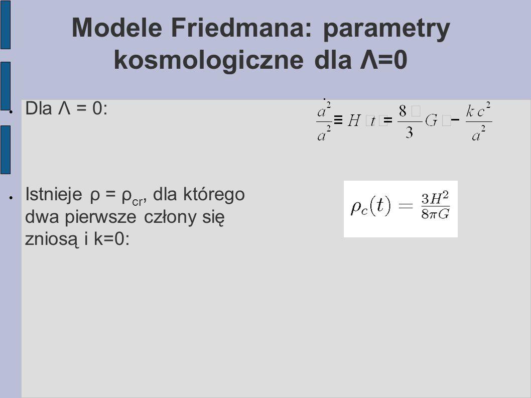 Modele Friedmana: parametry kosmologiczne dla Λ=0