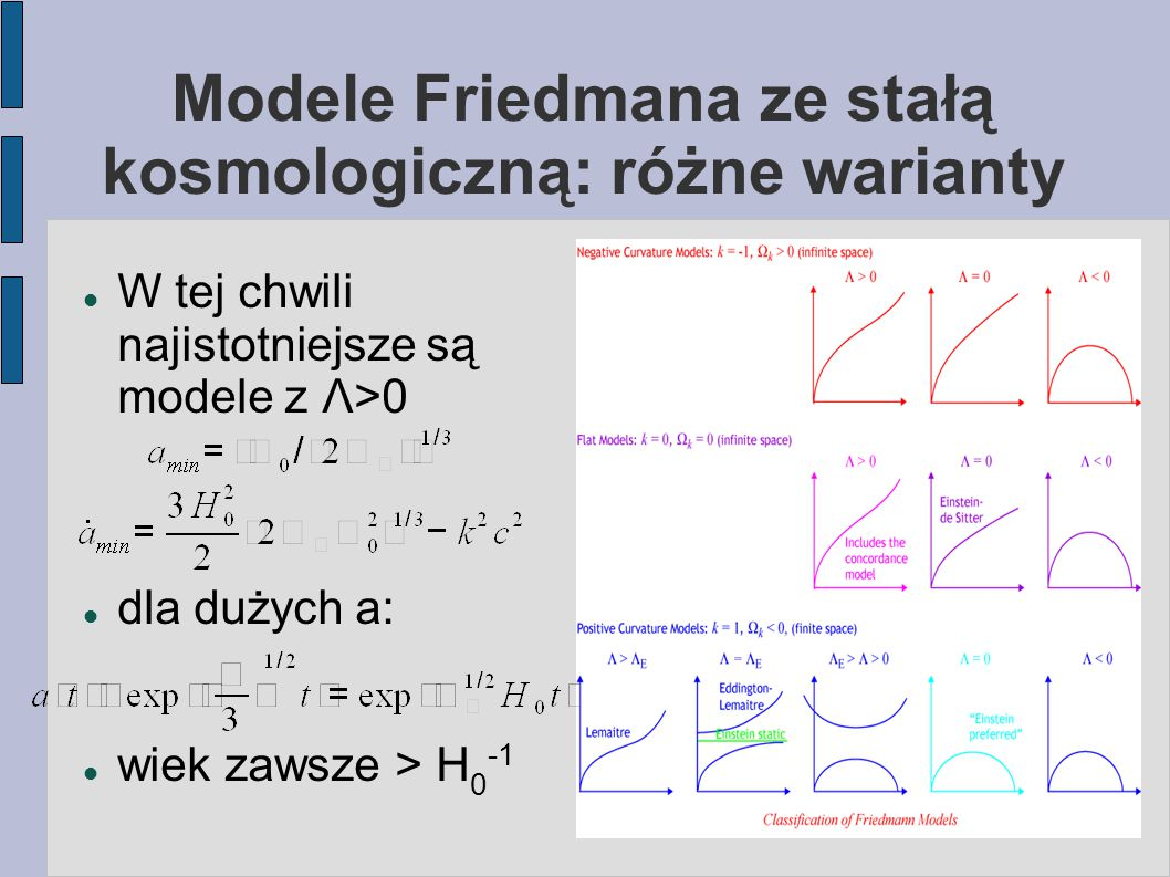 Modele Friedmana ze stałą kosmologiczną: różne warianty