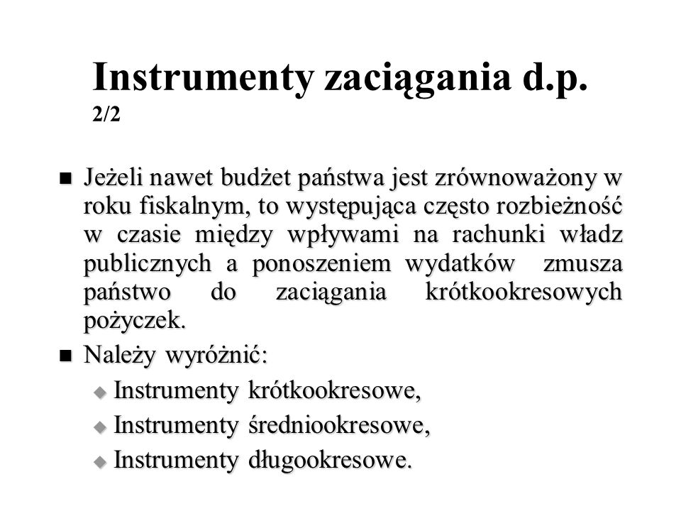 Instrumenty zaciągania d.p. 2/2