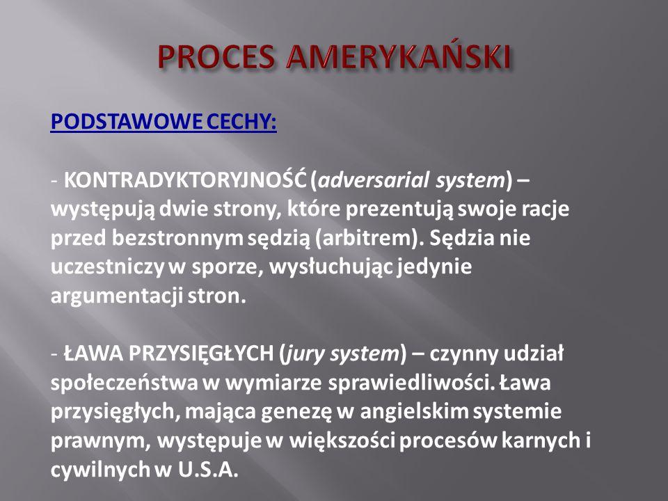 PROCES AMERYKAŃSKI PODSTAWOWE CECHY: