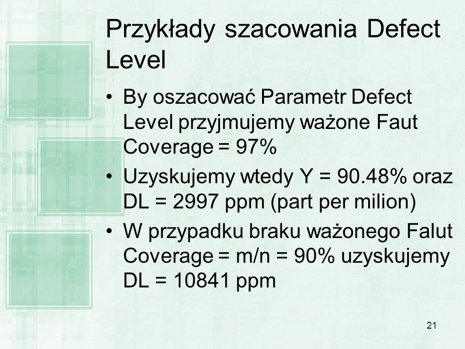 Przykłady szacowania Defect Level