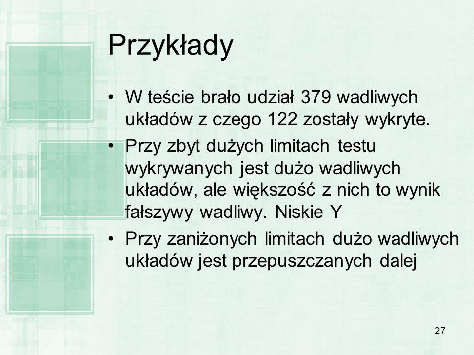 Przykłady W teście brało udział 379 wadliwych układów z czego 122 zostały wykryte.