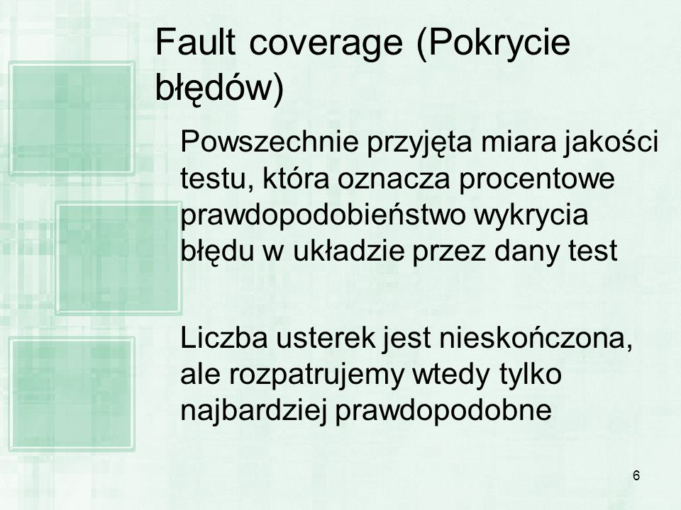 Fault coverage (Pokrycie błędów)