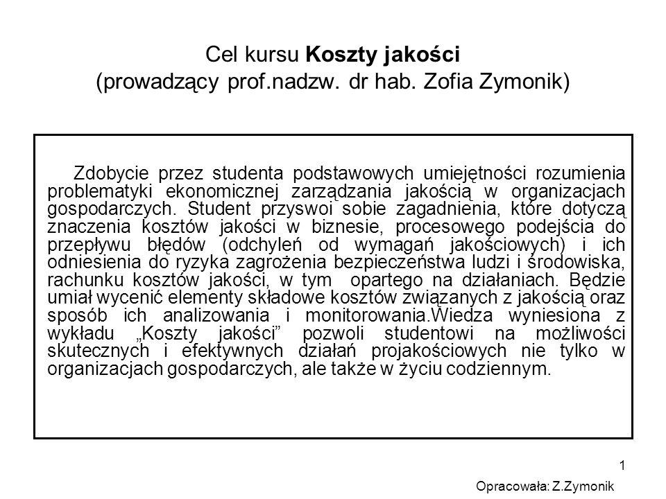 Cel kursu Koszty jakości (prowadzący prof. nadzw. dr hab