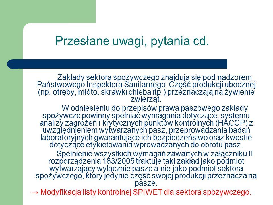 → Modyfikacja listy kontrolnej SPIWET dla sektora spożywczego.