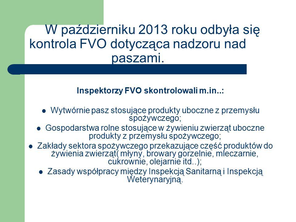 W październiku 2013 roku odbyła się kontrola FVO dotycząca nadzoru nad paszami.