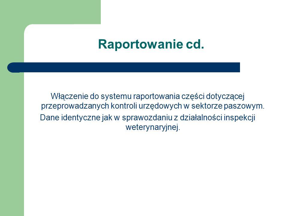 Raportowanie cd. Włączenie do systemu raportowania części dotyczącej przeprowadzanych kontroli urzędowych w sektorze paszowym.
