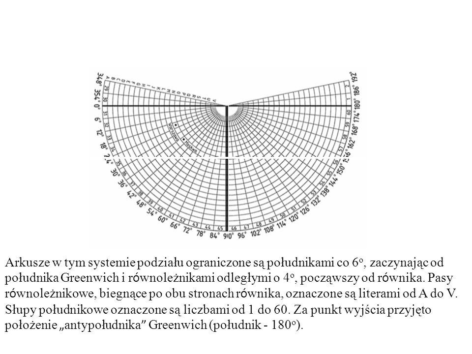 Arkusze w tym systemie podziału ograniczone są południkami co 6o, zaczynając od południka Greenwich i równoleżnikami odległymi o 4o, począwszy od równika.