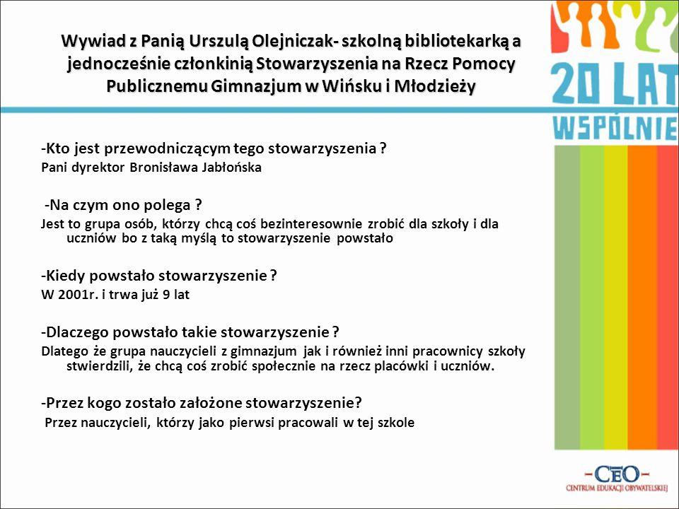 Wywiad z Panią Urszulą Olejniczak- szkolną bibliotekarką a jednocześnie członkinią Stowarzyszenia na Rzecz Pomocy Publicznemu Gimnazjum w Wińsku i Młodzieży