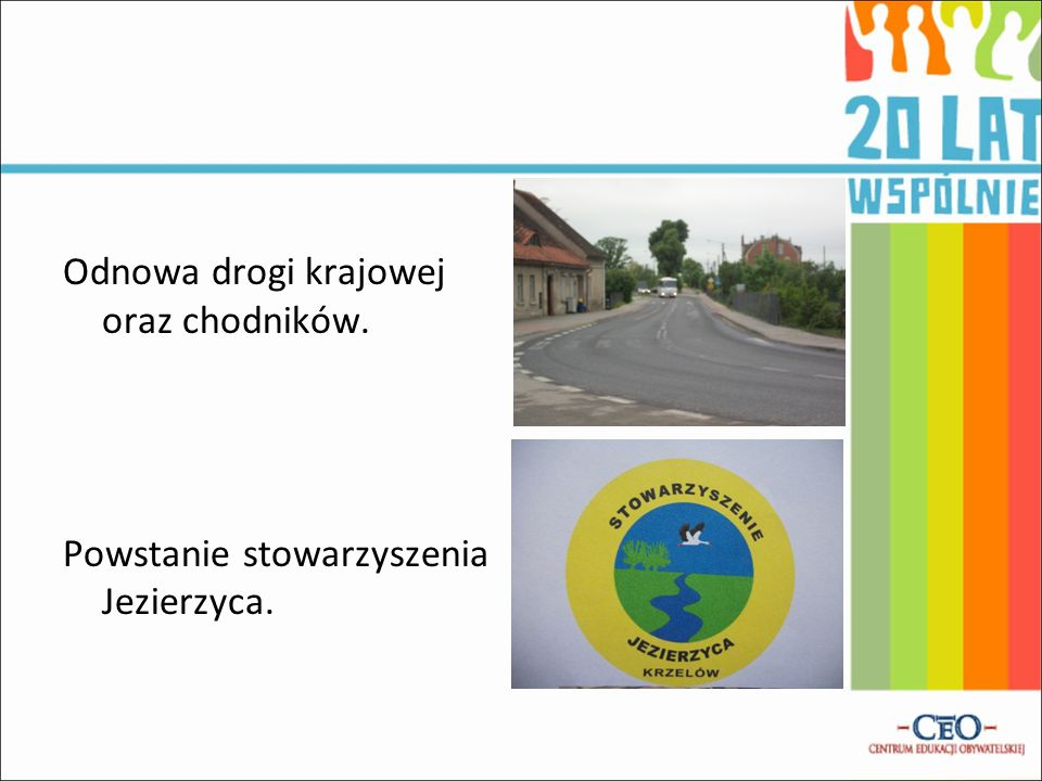 Odnowa drogi krajowej oraz chodników.