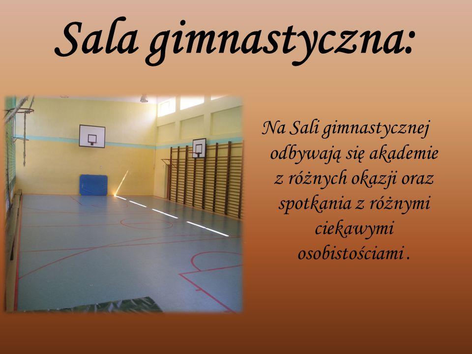 Sala gimnastyczna: Na Sali gimnastycznej odbywają się akademie z różnych okazji oraz spotkania z różnymi ciekawymi osobistościami .