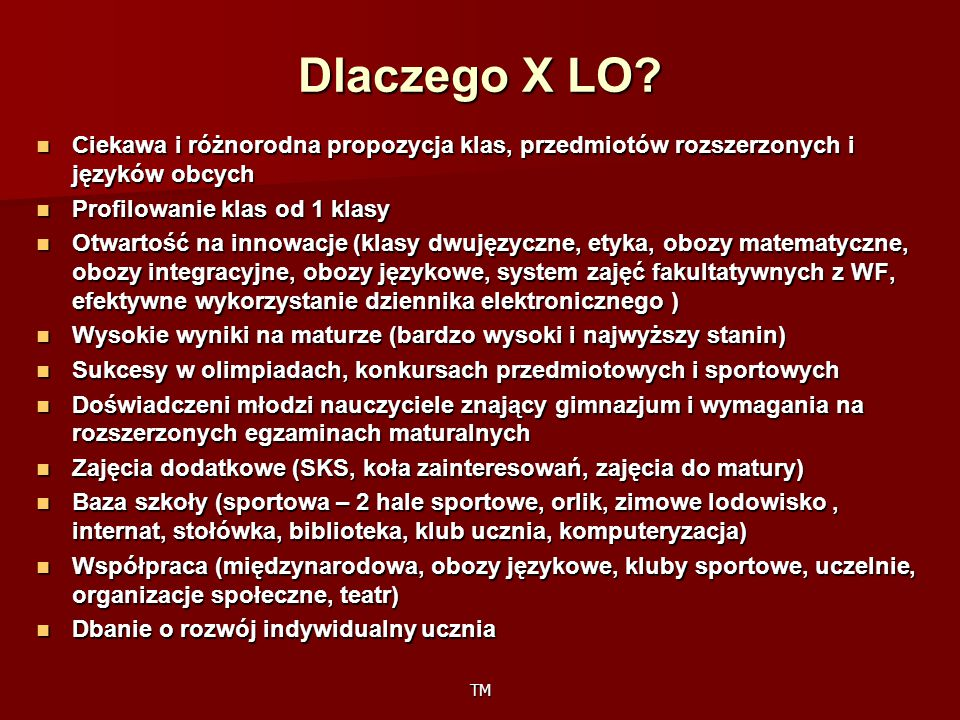 Dlaczego X LO Ciekawa i różnorodna propozycja klas, przedmiotów rozszerzonych i języków obcych. Profilowanie klas od 1 klasy.