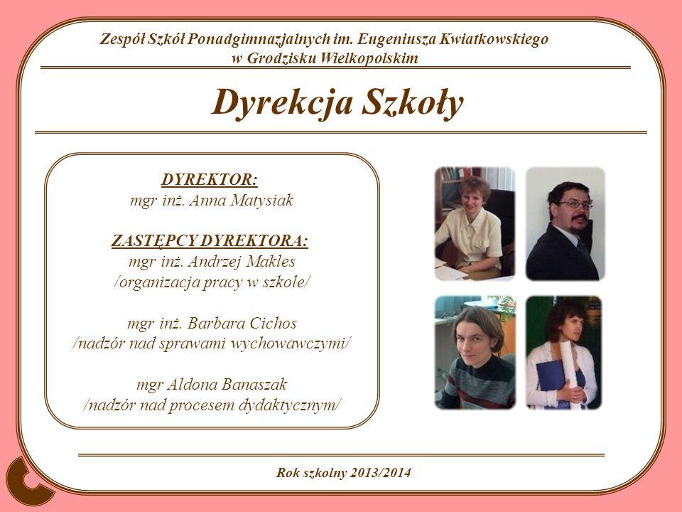 Dyrekcja Szkoły DYREKTOR: mgr inż. Anna Matysiak ZASTĘPCY DYREKTORA: