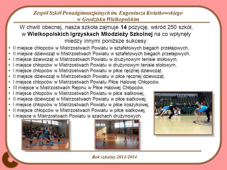 W chwili obecnej, nasza szkoła zajmuje 14 pozycję, wśród 250 szkół, w Wielkopolskich Igrzyskach Młodzieży Szkolnej na co wpłynęły miedzy innymi poniższe sukcesy: