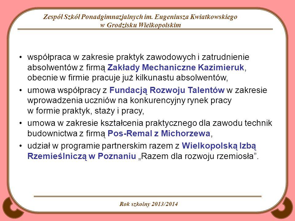 współpraca w zakresie praktyk zawodowych i zatrudnienie absolwentów z firmą Zakłady Mechaniczne Kazimieruk, obecnie w firmie pracuje już kilkunastu absolwentów,