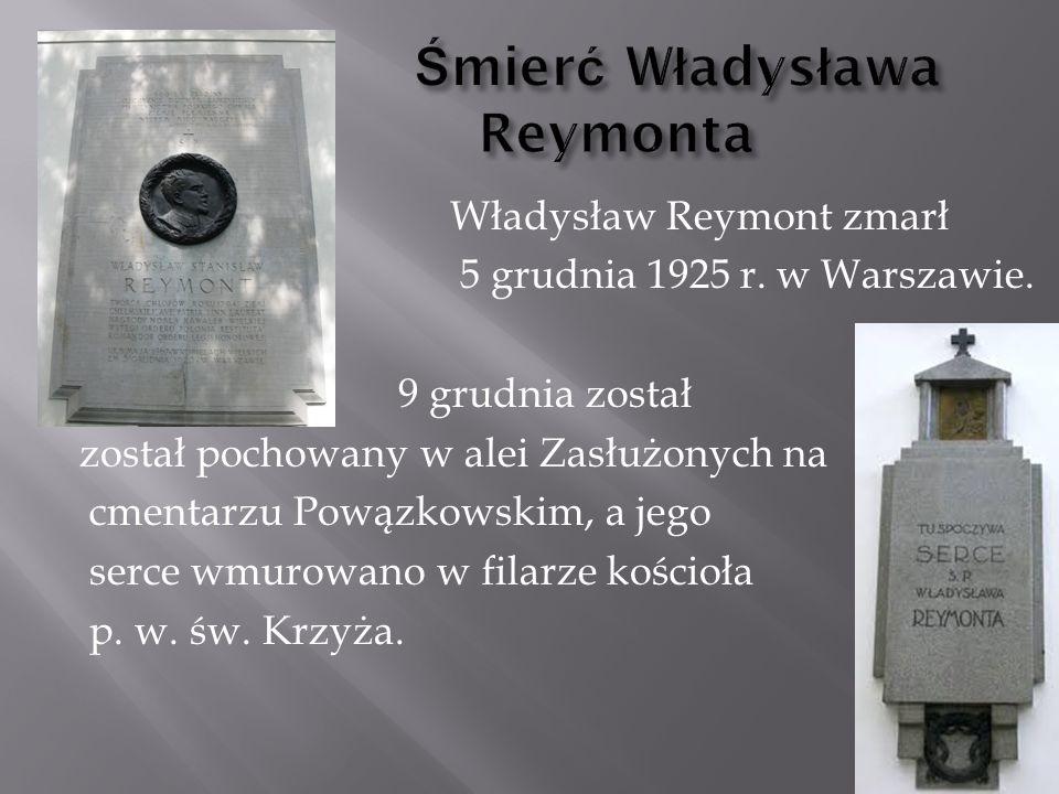 Śmierć Władysława Reymonta