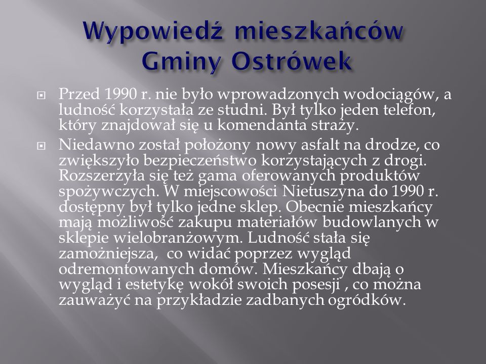 Wypowiedź mieszkańców Gminy Ostrówek