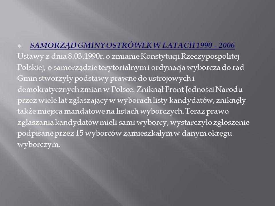 SAMORZĄD GMINY OSTRÓWEK W LATACH 1990 – 2006